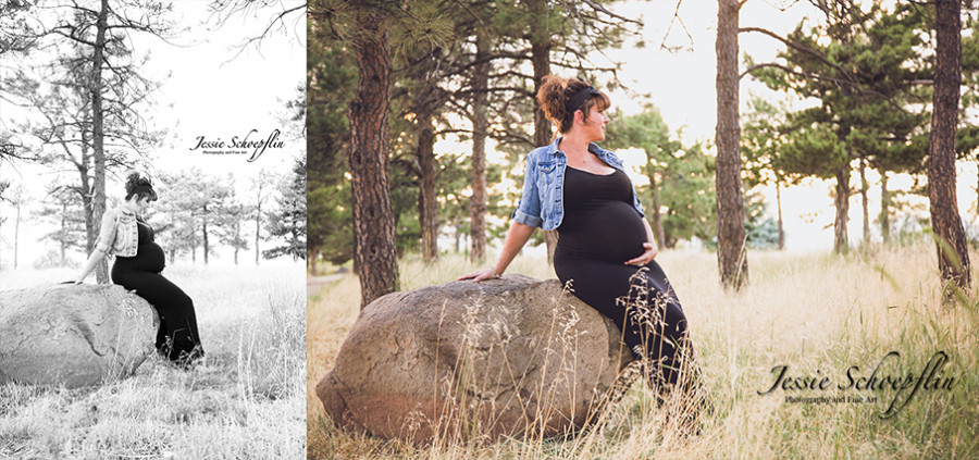 3-maternity-sitting-on-rock-black-and-white